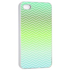Green Line Zigzag Pattern Chevron Apple Iphone 4/4s Seamless Case (white) by Nexatart