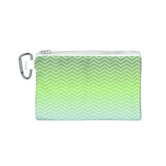 Green Line Zigzag Pattern Chevron Canvas Cosmetic Bag (s) by Nexatart