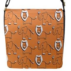 Lion Pattern Wallpaper Vector Flap Messenger Bag (s) by Nexatart