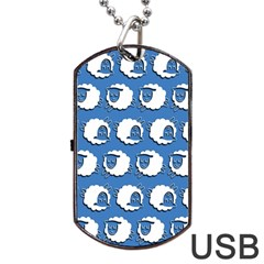 Sheep Pattern Wallpaper Vector Dog Tag Usb Flash (one Side) by Nexatart
