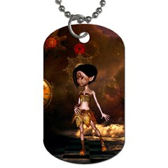 Steampunk, Cute Little Steampunk Girl In The Night With Clocks Dog Tag (one Side) by FantasyWorld7