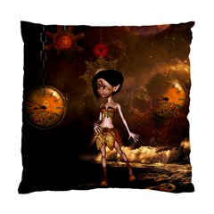 Steampunk, Cute Little Steampunk Girl In The Night With Clocks Standard Cushion Case (two Sides) by FantasyWorld7