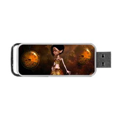 Steampunk, Cute Little Steampunk Girl In The Night With Clocks Portable Usb Flash (one Side) by FantasyWorld7