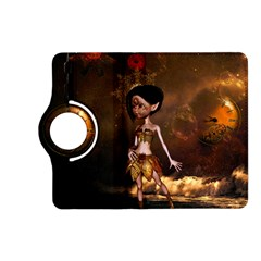 Steampunk, Cute Little Steampunk Girl In The Night With Clocks Kindle Fire Hd (2013) Flip 360 Case by FantasyWorld7