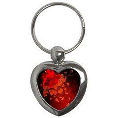 Cherry Blossom, Red Colors Key Chains (heart)  by FantasyWorld7