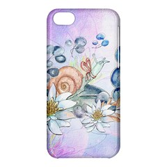 Snail And Waterlily, Watercolor Apple Iphone 5c Hardshell Case by FantasyWorld7