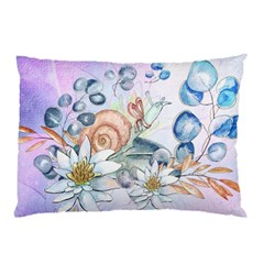 Snail And Waterlily, Watercolor Pillow Case (two Sides) by FantasyWorld7
