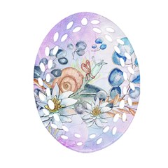 Snail And Waterlily, Watercolor Ornament (oval Filigree) by FantasyWorld7