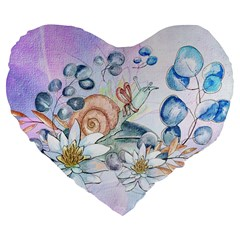 Snail And Waterlily, Watercolor Large 19  Premium Flano Heart Shape Cushions by FantasyWorld7