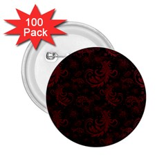 Dark Red Flourish 2 25  Buttons (100 Pack)  by gatterwe