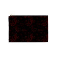 Dark Red Flourish Cosmetic Bag (medium)  by gatterwe