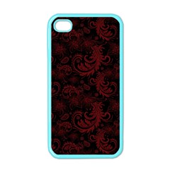 Dark Red Flourish Apple Iphone 4 Case (color) by gatterwe
