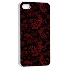 Dark Red Flourish Apple Iphone 4/4s Seamless Case (white) by gatterwe