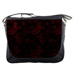 Dark Red Flourish Messenger Bags by gatterwe