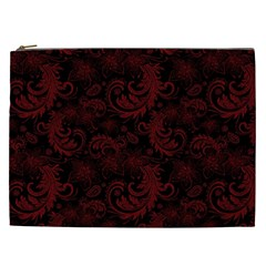 Dark Red Flourish Cosmetic Bag (xxl)  by gatterwe