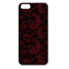 Dark Red Flourish Apple Seamless Iphone 5 Case (clear) by gatterwe