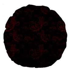 Dark Red Flourish Large 18  Premium Round Cushions by gatterwe