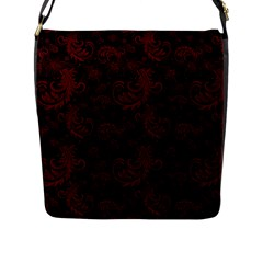 Dark Red Flourish Flap Messenger Bag (l)  by gatterwe