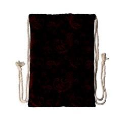 Dark Red Flourish Drawstring Bag (small) by gatterwe