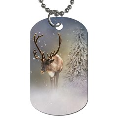Santa Claus Reindeer In The Snow Dog Tag (one Side) by gatterwe