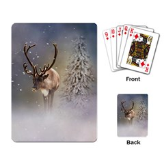 Santa Claus Reindeer In The Snow Playing Cards Single Design by gatterwe
