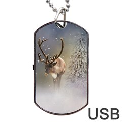 Santa Claus Reindeer In The Snow Dog Tag Usb Flash (two Sides) by gatterwe