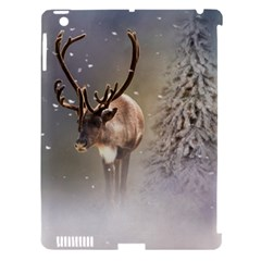 Santa Claus Reindeer In The Snow Apple Ipad 3/4 Hardshell Case (compatible With Smart Cover) by gatterwe