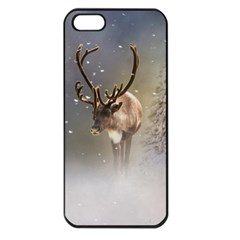 Santa Claus Reindeer In The Snow Apple Iphone 5 Seamless Case (black) by gatterwe