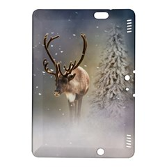 Santa Claus Reindeer In The Snow Kindle Fire Hdx 8 9  Hardshell Case by gatterwe