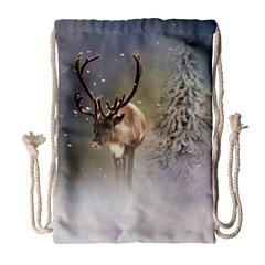 Santa Claus Reindeer In The Snow Drawstring Bag (large) by gatterwe