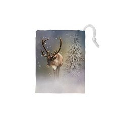 Santa Claus Reindeer In The Snow Drawstring Pouch (xs) by gatterwe