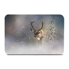 Santa Claus Reindeer In The Snow Plate Mat by gatterwe