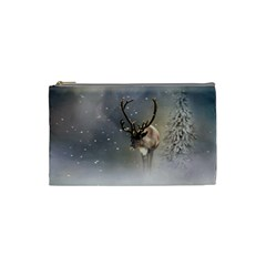 Santa Claus Reindeer In The Snow Cosmetic Bag (small) by gatterwe