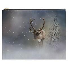 Santa Claus Reindeer In The Snow Cosmetic Bag (xxxl) by gatterwe