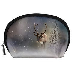 Santa Claus Reindeer In The Snow Accessory Pouch (large) by gatterwe