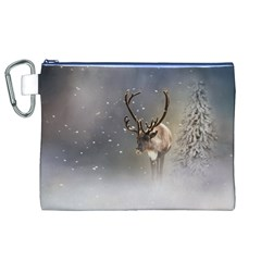 Santa Claus Reindeer In The Snow Canvas Cosmetic Bag (xl) by gatterwe