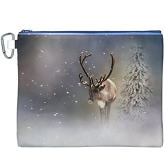 Santa Claus Reindeer In The Snow Canvas Cosmetic Bag (xxxl) by gatterwe