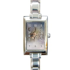 Santa Claus Reindeer In The Snow Rectangle Italian Charm Watch by gatterwe