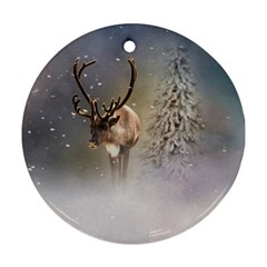 Santa Claus Reindeer In The Snow Ornament (round) by gatterwe