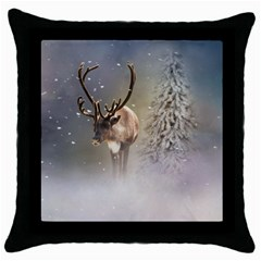 Santa Claus Reindeer In The Snow Throw Pillow Case (black) by gatterwe