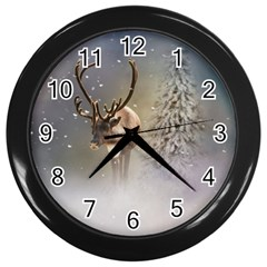 Santa Claus Reindeer In The Snow Wall Clocks (black) by gatterwe