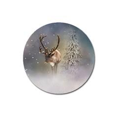 Santa Claus Reindeer In The Snow Magnet 3  (round) by gatterwe