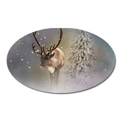Santa Claus Reindeer In The Snow Oval Magnet by gatterwe