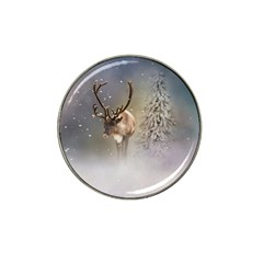 Santa Claus Reindeer In The Snow Hat Clip Ball Marker (4 Pack) by gatterwe