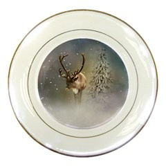 Santa Claus Reindeer In The Snow Porcelain Plates by gatterwe