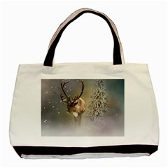Santa Claus Reindeer In The Snow Basic Tote Bag (two Sides) by gatterwe