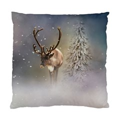 Santa Claus Reindeer In The Snow Standard Cushion Case (one Side) by gatterwe