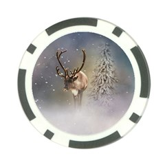 Santa Claus Reindeer In The Snow Poker Chip Card Guard (10 Pack) by gatterwe