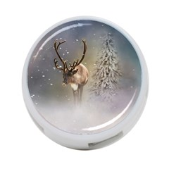 Santa Claus Reindeer In The Snow 4 Port Usb Hub (two Sides)  by gatterwe