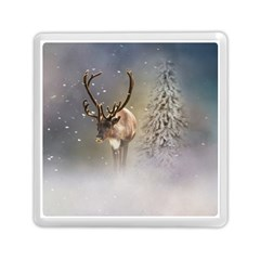 Santa Claus Reindeer In The Snow Memory Card Reader (square)  by gatterwe